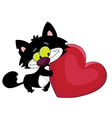 black cat and heart vector image vector image