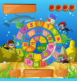 boardgame template with kids diving under the sea vector image vector image