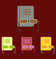book and glasses set vector image vector image