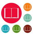book novel icons circle set vector image vector image
