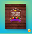 card of farm fresh 100 percent organic sign vector image