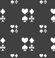 card suit Icon sign Seamless pattern on a gray vector image
