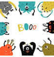cartoon monsters frame vector image vector image