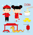china tradition food place travel asia cartoon vector image