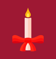 Christmas Candle with Bow vector image vector image