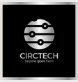 circle tech logo signal line and dots vector image vector image