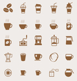 Coffee color icons on light background vector image vector image