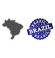 collage of halftone dotted map of brazil and vector image vector image