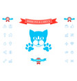cut cat with paws - logo symbol protect sign vector image