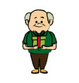 Cute granfather with gift box surprise image vector image