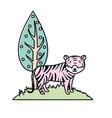 cute tiger wild animal next to tree vector image