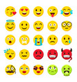 emoticons set emoji faces emoticon funny smile vector image vector image