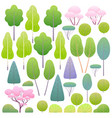 flat spring trees and bushes set vector image