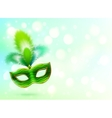 Green carnival mask with feathers banner vector image vector image