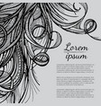 hair doodle elements sketched waves on background vector image vector image