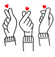 hand drawn korean love sign doodle korea vector image