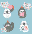 happy birthday cats set vector image vector image