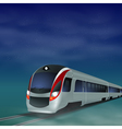 High-speed train at night vector image vector image