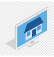 house on laptop screen isometric icon vector image