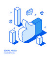 isometric social marketing line style design vector image