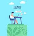 man working distant on laptop freelance banner vector image vector image