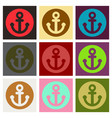 nautical anchor isolated background ship anchor vector image vector image