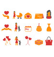 orange and red color happy mothers day icons set vector image