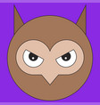 owl head in cartoon flat style vector image
