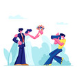 photographer making picture young couple vector image vector image