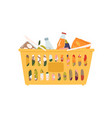 plastic grocery cart with handles full products vector image