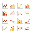 Red and Orange Business Graph Diagram Icons Set vector image vector image
