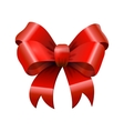 Red glossy shiny realistic bowtie bow with tails vector image vector image