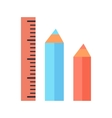 Ruler and Two Pencils Icons Isolated on White vector image vector image