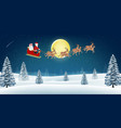 santa claus with reindeer fly over winter hill vector image