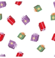 Seamless pattern with Christmas volume gift boxes vector image vector image