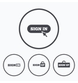 Sign in icons Login with arrow hand pointer vector image vector image