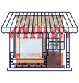 store facade with sunshade in colored crayon vector image