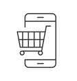 trolley on cellphone screen line icon shopping vector image