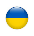 ukraine flag on button vector image vector image