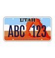utah license number plate usa car plate vector image vector image