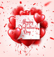 valentines day abstract background with red 3d vector image
