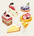 watercolor hand painted sweet and tasty cake vector image