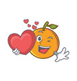 with heart orange fruit cartoon character vector image