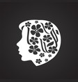 woman head with flowers on white background vector image