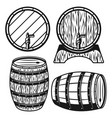 wooden barrels four style vector image