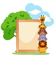 wooden frame with cute animals on the side vector image vector image