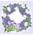 Wreath with lilac and pansies vector image vector image