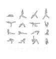 yoga asanas pen line vector image