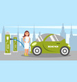 young woman charging electric car at charging vector image