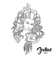 zodiac of leo as girl with flowers vector image vector image